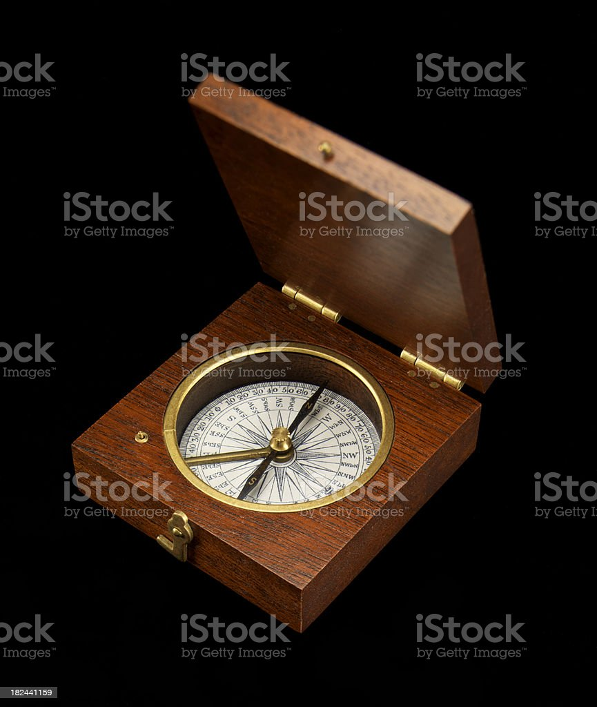 Antique Wooden Compass on black background stock photo