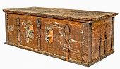 Antique wooden dowry chest with lock