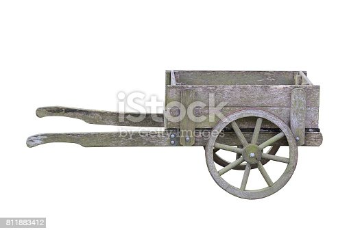 image of antique wooden garden trolley isolated on white background