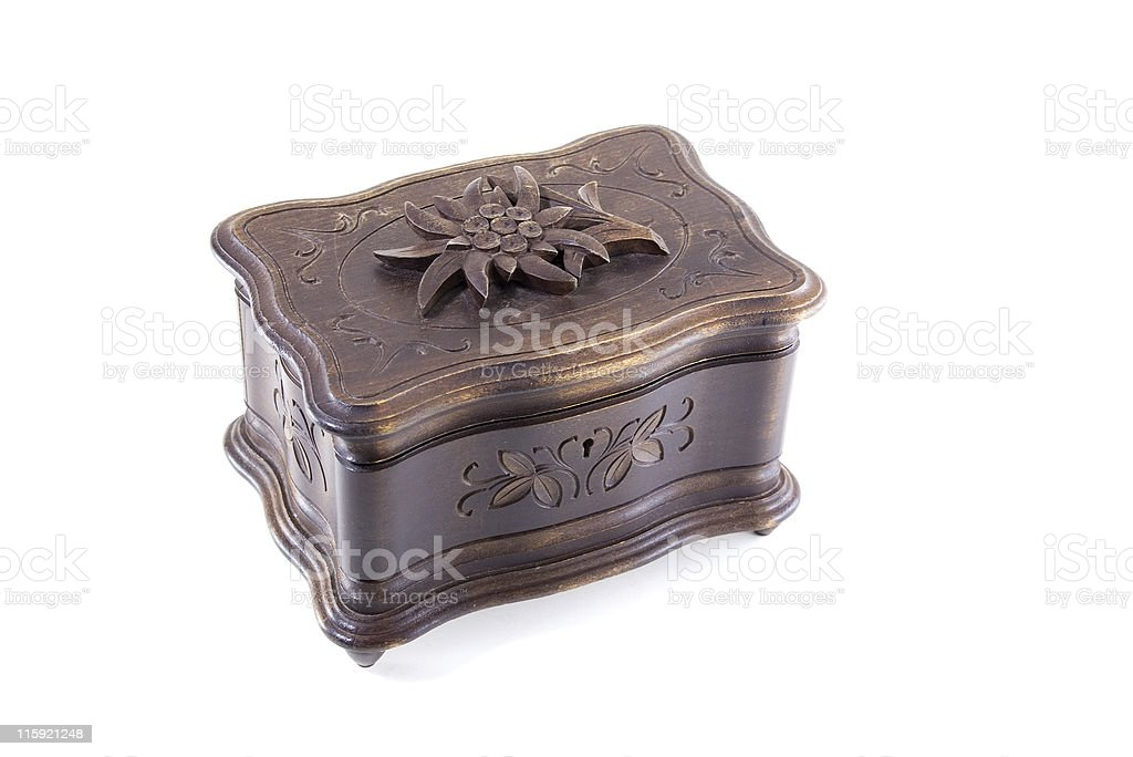 Antique Wooden Musical Jewellery Box with Floral Decoration stock photo