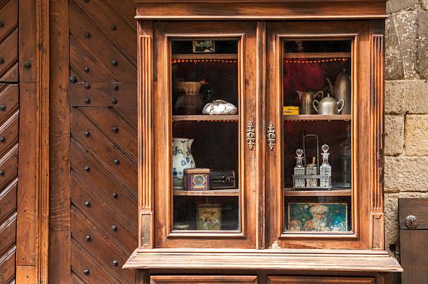 antique wooden sideboard - glas porslin bildbanksfoton och bilder
