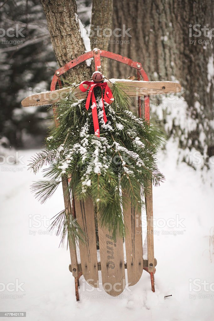 antique wooden sled with pine against a tree in snow royalty free stock photo - Wooden Sled Decoration Christmas