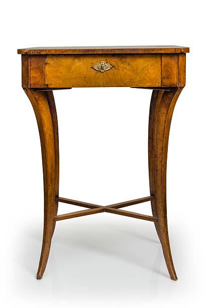 Alten Holztisch, isoliert auf weißem Hintergrund – Foto