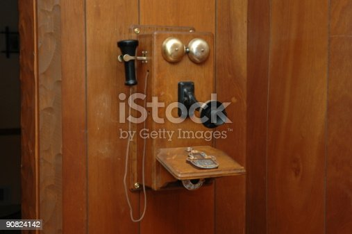 Antique wood telephone hanging on wood wall