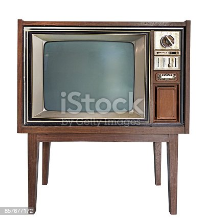 istock Antique wooden television in Isolated white background with clipping path 857677172