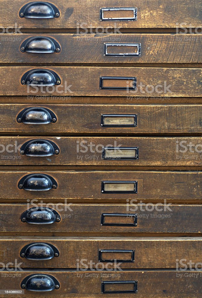 Antique wooden tool cupboard royalty-free stock photo