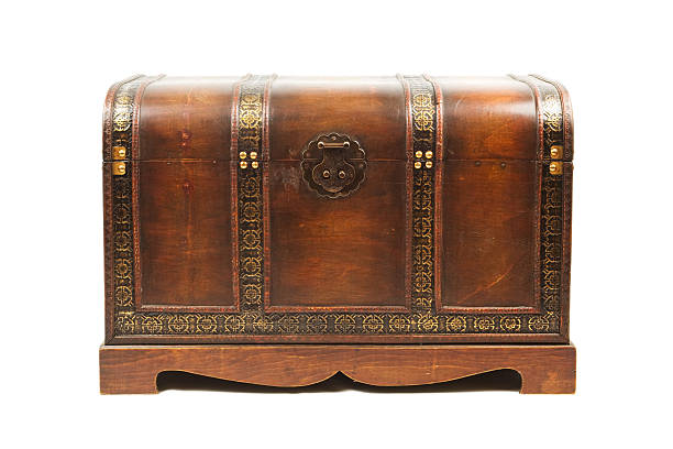 Antique wooden trunk stock photo