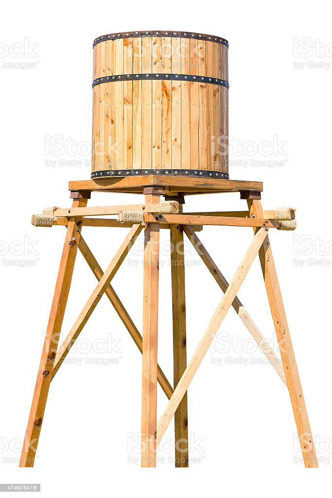 Antique wooden water tower with steel ring stock photo