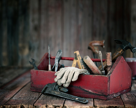 Antique Work Tools in a Toolbox