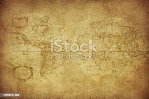 istock Antique World Map circa 1630 in sepia tones 158351953