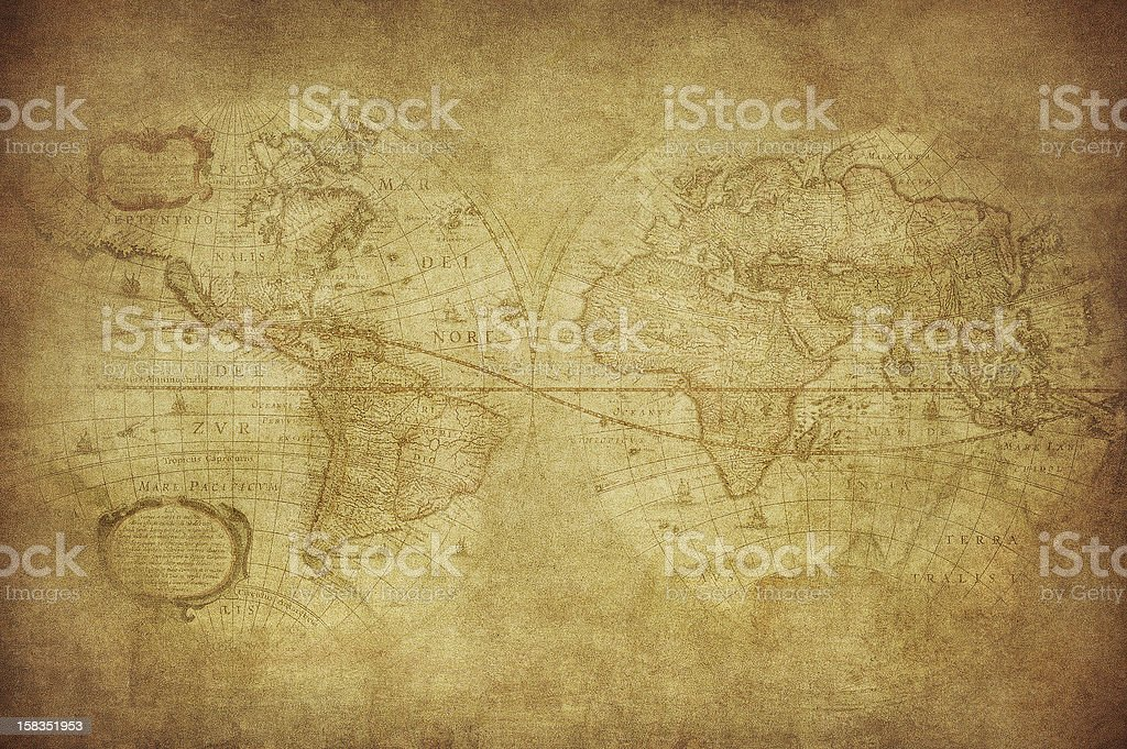 Antique World Map circa 1630 in sepia tones stock photo