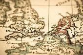 Antique world map Dover Strait