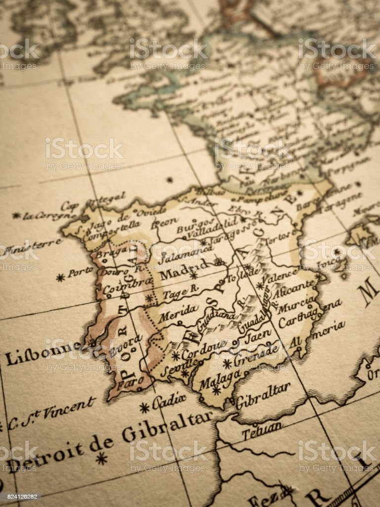 Antique World Map Iberia Peninsula Stock Photo More Pictures Of