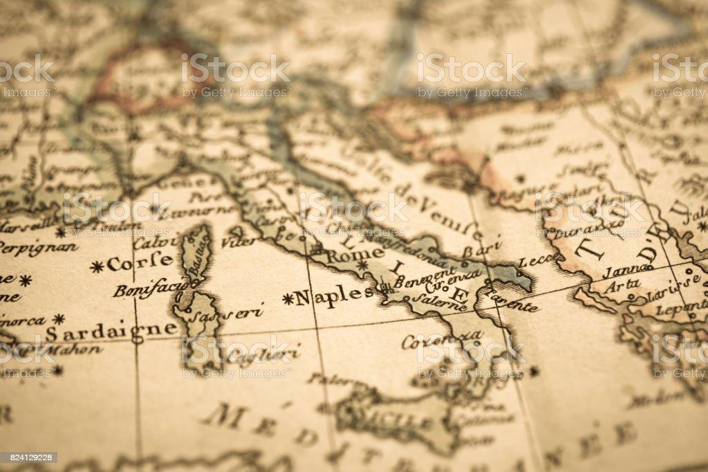 Antique world map Mediterranean stock photo