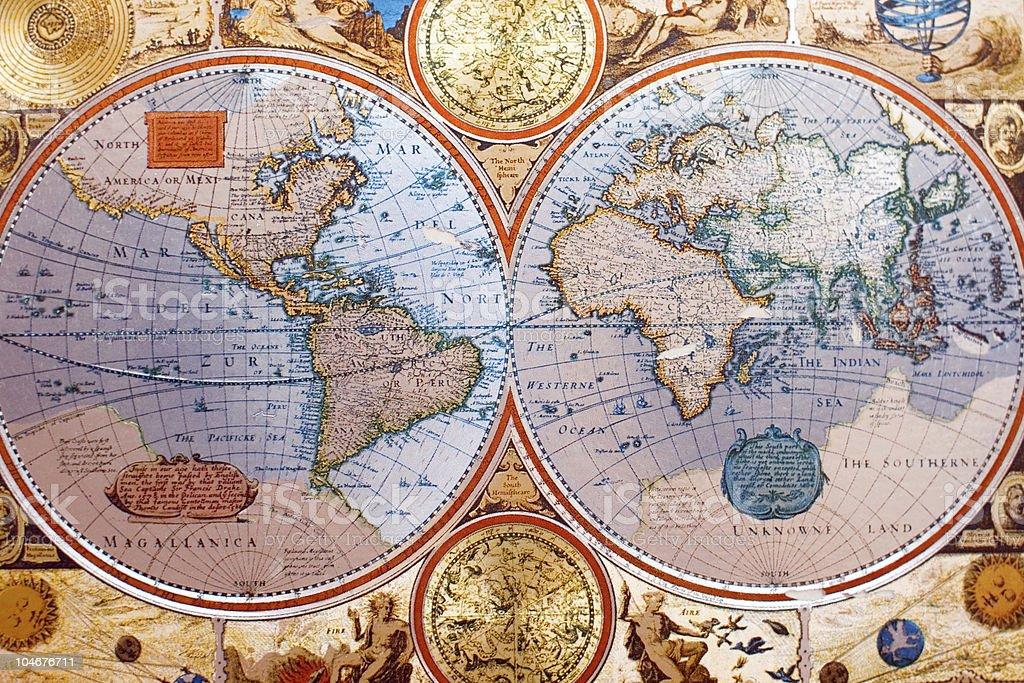 Antique World Map Wallpaper - Flattened Hemispheres stock photo