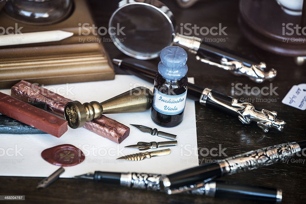 Antique writing equipment royalty-free stock photo