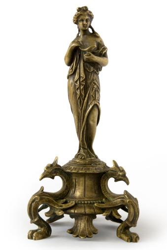 Small bronze antique statuette, family souvenir, representing the Greek goddess Aphrodite. She is a Roman goddess, too, named Venus.