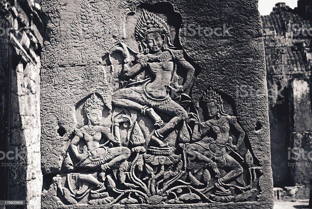 antiques at Angkor Wat in Cambodia stock photo