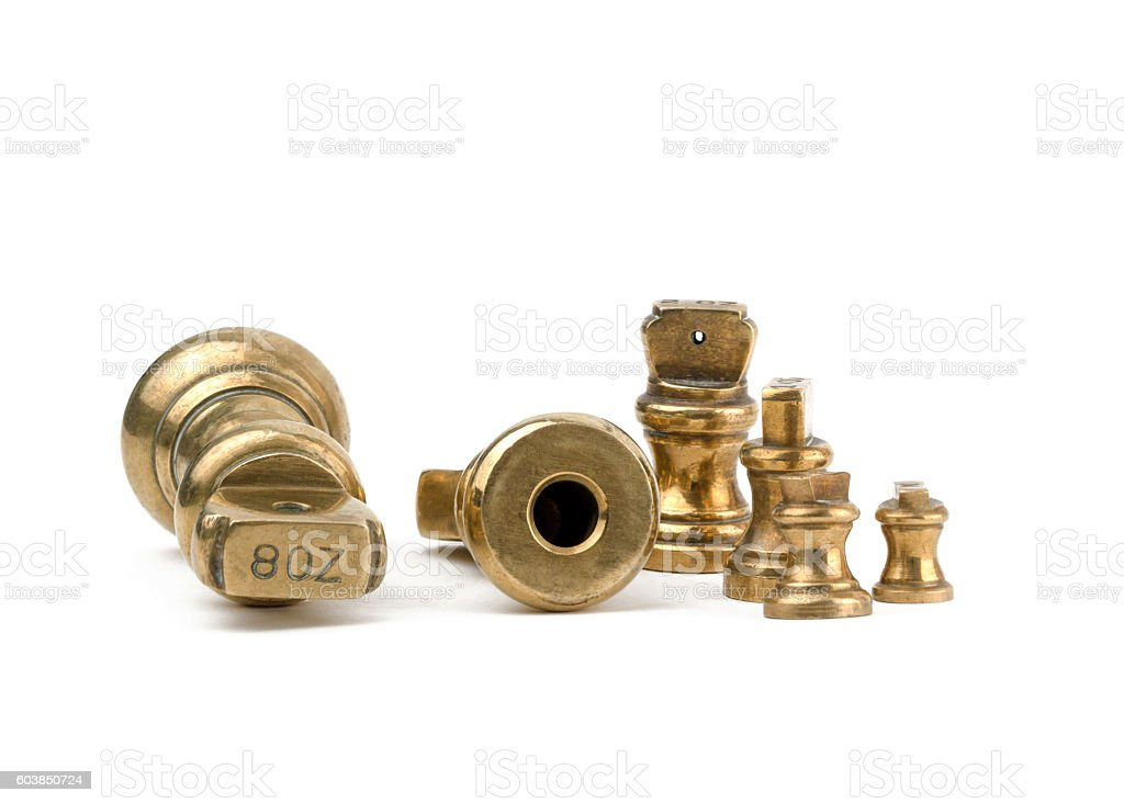 Antiques brass imperial weights stock photo