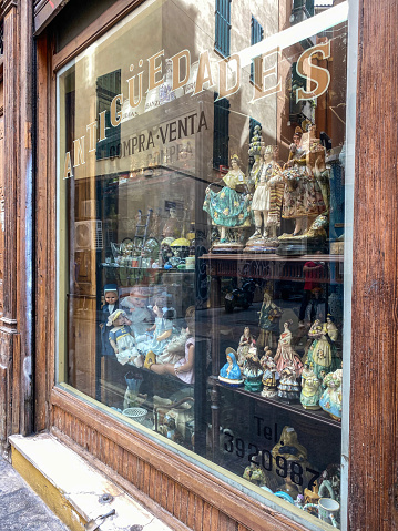 Valencia, Spain - September 22, 2020: Antiques shop in the historic center of the city. This area has a lot of shops selling vintage items