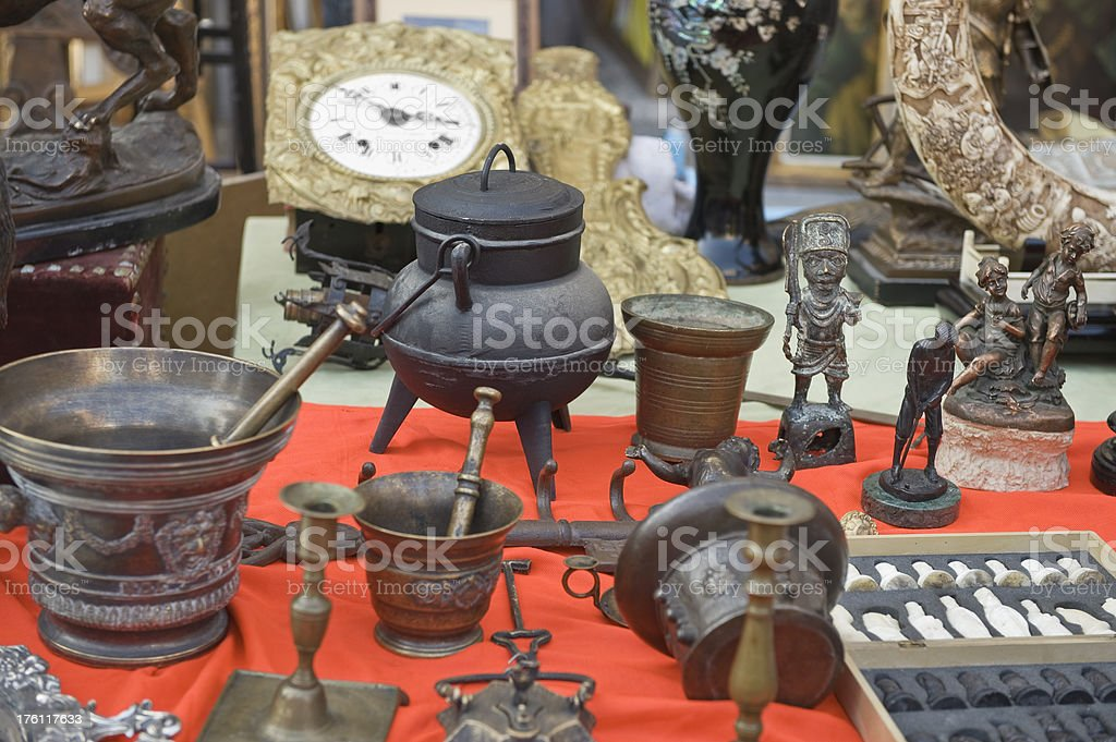 Antiquities in the flea market. royalty-free stock photo
