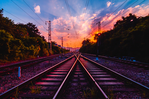 Antiquity railway at the sky of dawn