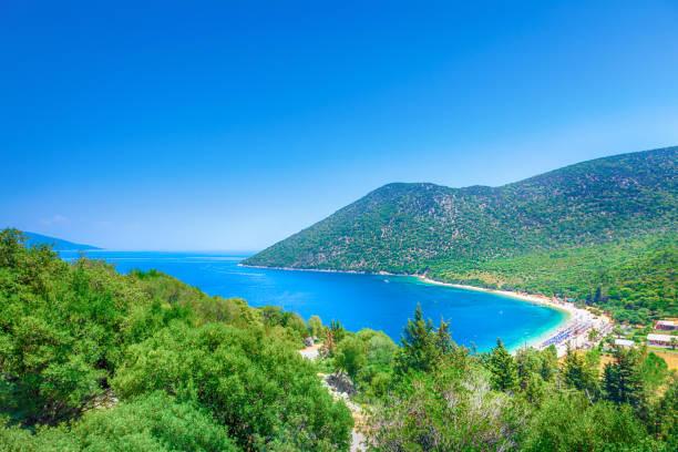 Antisamos beach in Kefalonia island, Greece stock photo