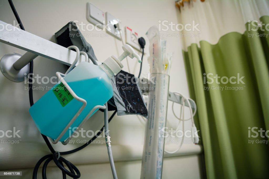 Antiseptic liquid inside patient hospital room - Photo