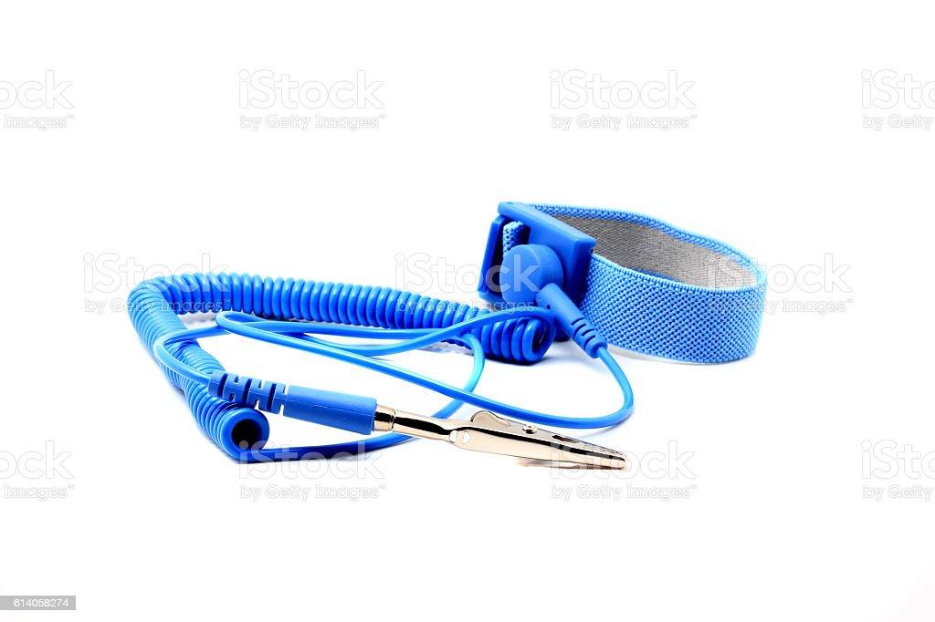 Antistatic wrist strap, ESD wrist strap stock photo