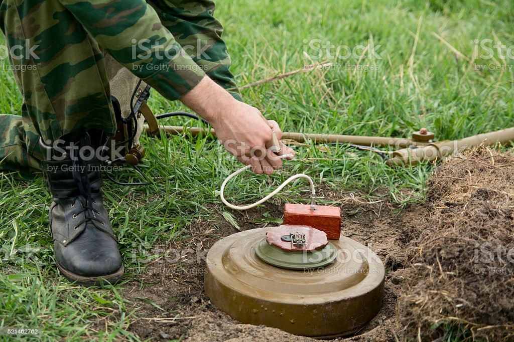 Anti-tank mines and TNT. stock photo