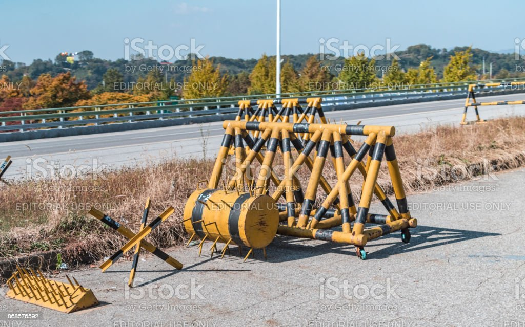 Anti-tank road Barriers between Seoul and North Korea in the Demilitarized Zone stock photo