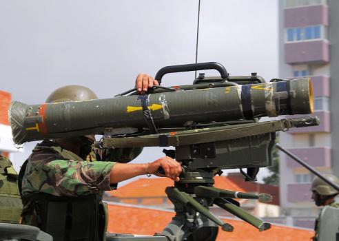 Anti-tank weapon -soldier aiming MILAN anti-tank guided missile - Setubal, Portugal