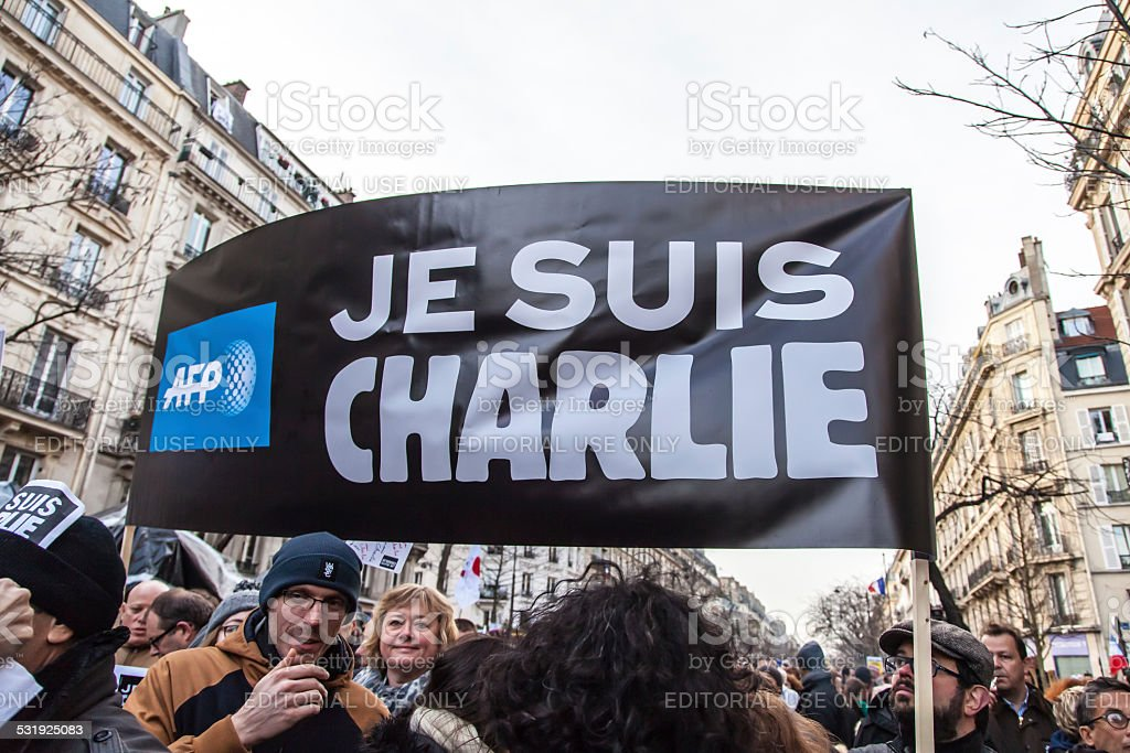Anti-terrorism rally in Paris stock photo