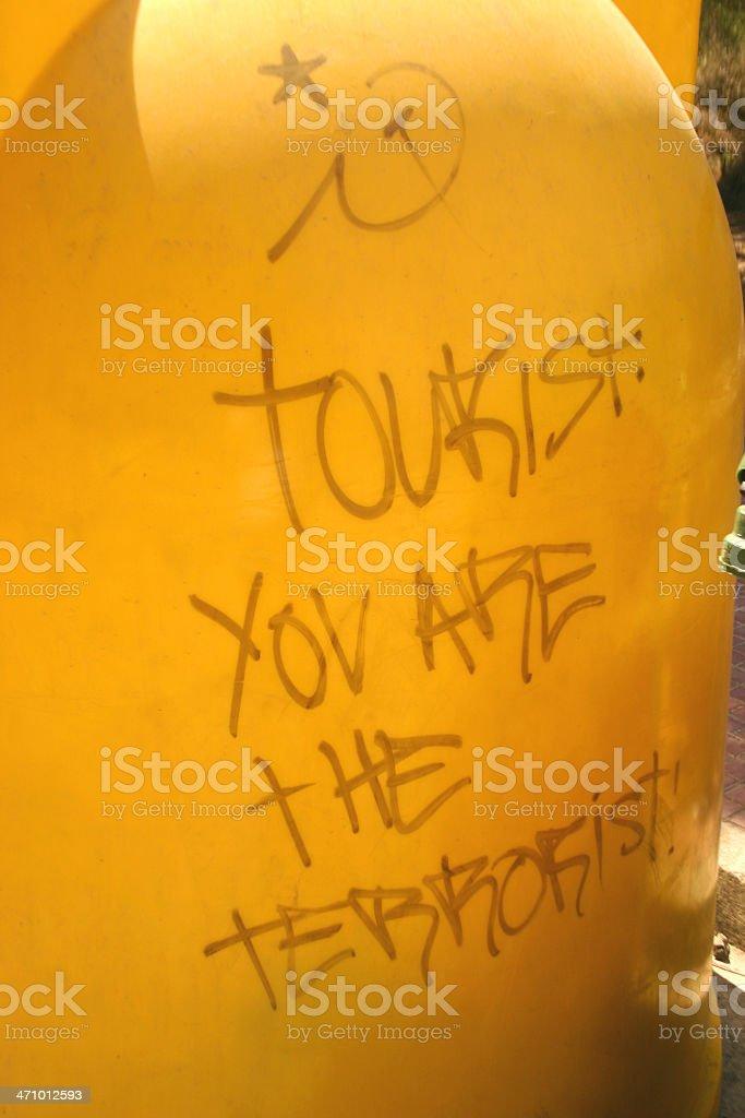 Anti-tourist graffiti royalty-free stock photo