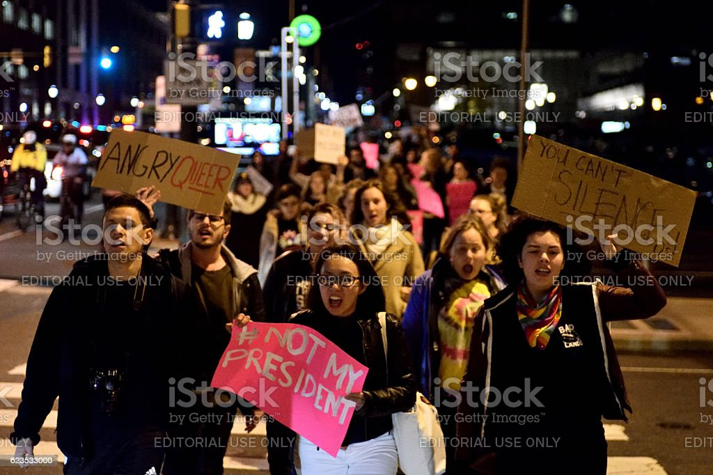 Anti-Trump Protest following U.S. Elections in Philadelphia, PA royalty-free stock photo