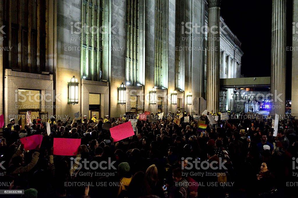 Anti-Trump Protest following U.S. Elections in Philadelphia, PA stock photo
