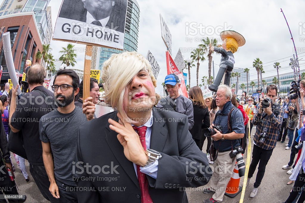 Anti-Trump protester disguised as Trump stock photo