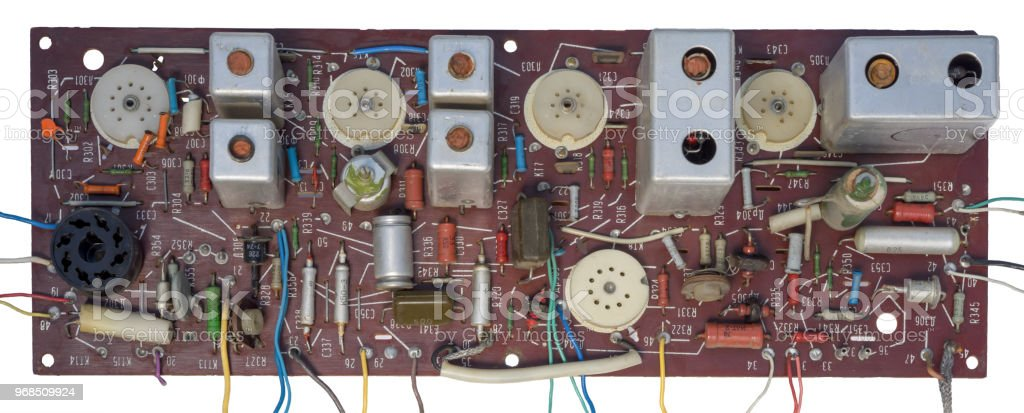 Antiue Circuit With Lot Of Resistors Transistors And Wires Stock