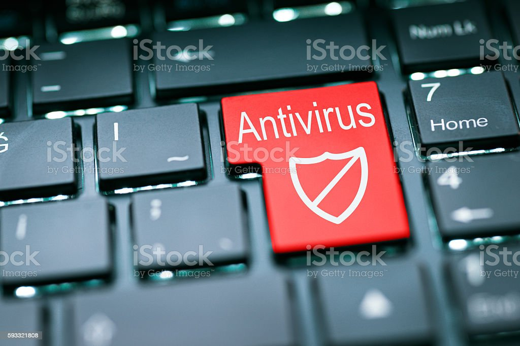 Antivirus enter key stock photo