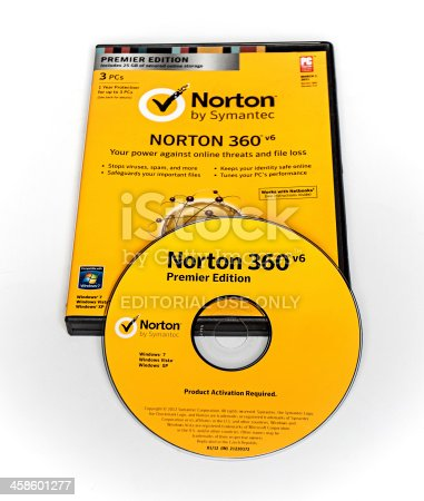 Belgrade , Serbia : June 14 , 2012 : Antivirus - Norton 360 V6 - Premier Edition by Symantec . Symantec Corporation is an American brand known worldwide for producing security software for computers.
