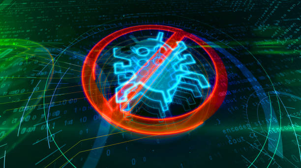 Antivirus symbol on cyber background Antivirus symbol on binary background with digital worm ban. Abstract 3D illustration of cyber protection icon. spyware stock pictures, royalty-free photos & images