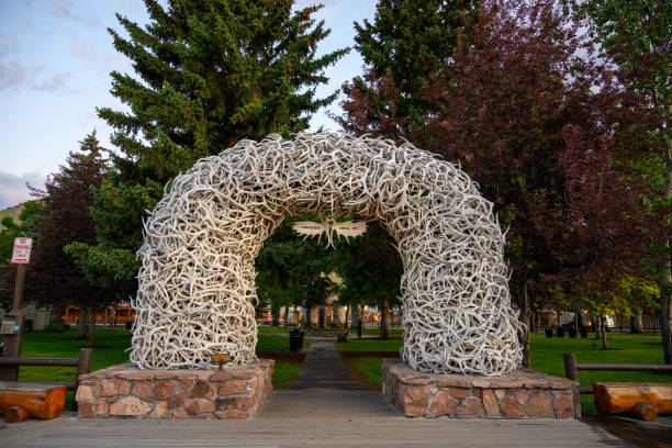 Antler Arch  With Sky in Jackson stock photo