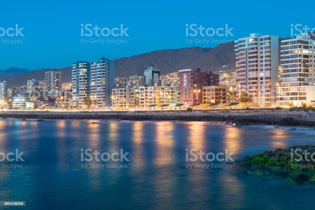 Antofagasta at night stock photo