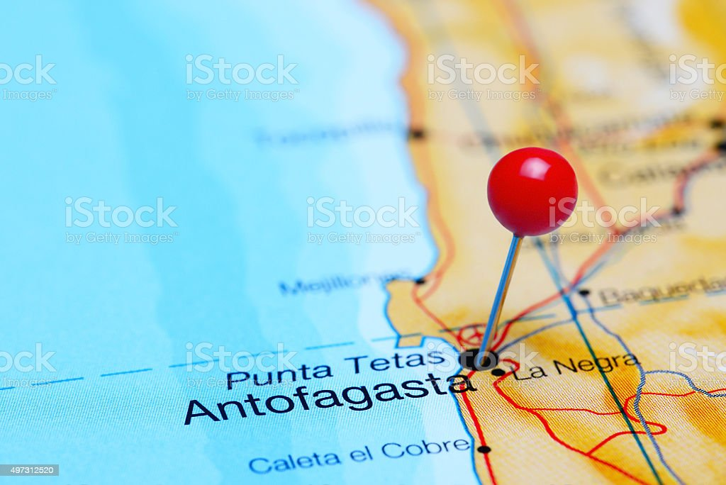 Antofagasta pinned on a map of Chile stock photo
