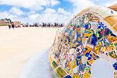 istock Antonio Gaudi mosaic work on main terrace at Park Guell, Barcelona, Spain. 951046418