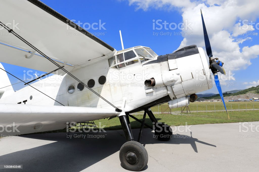 Antonov 2 biplane on the airport stock photo