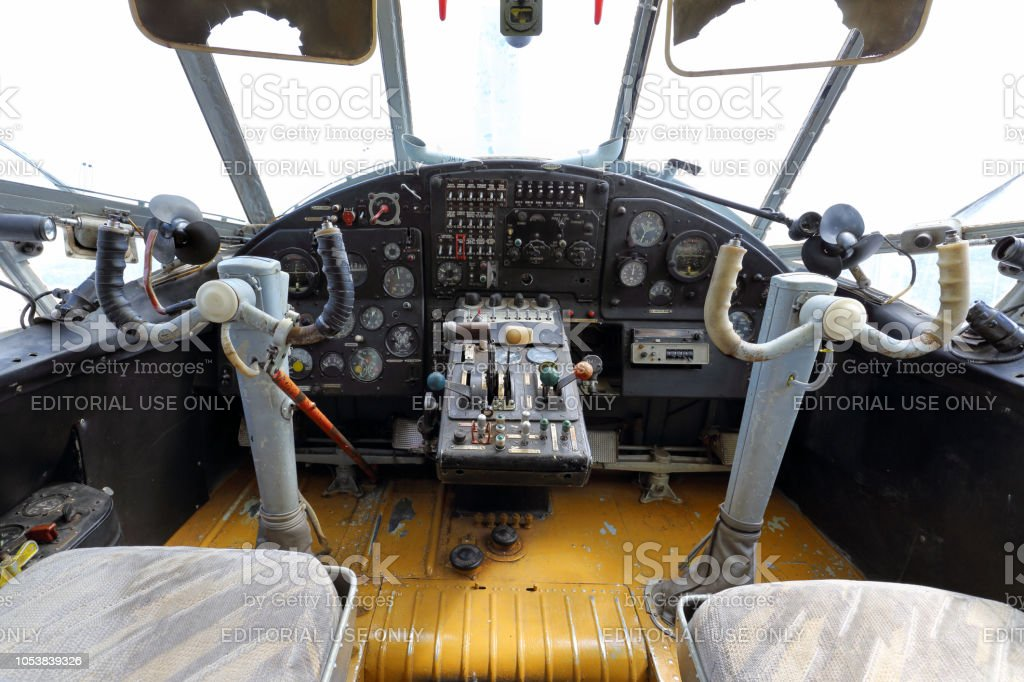 Antonov 2 cockpit stock photo