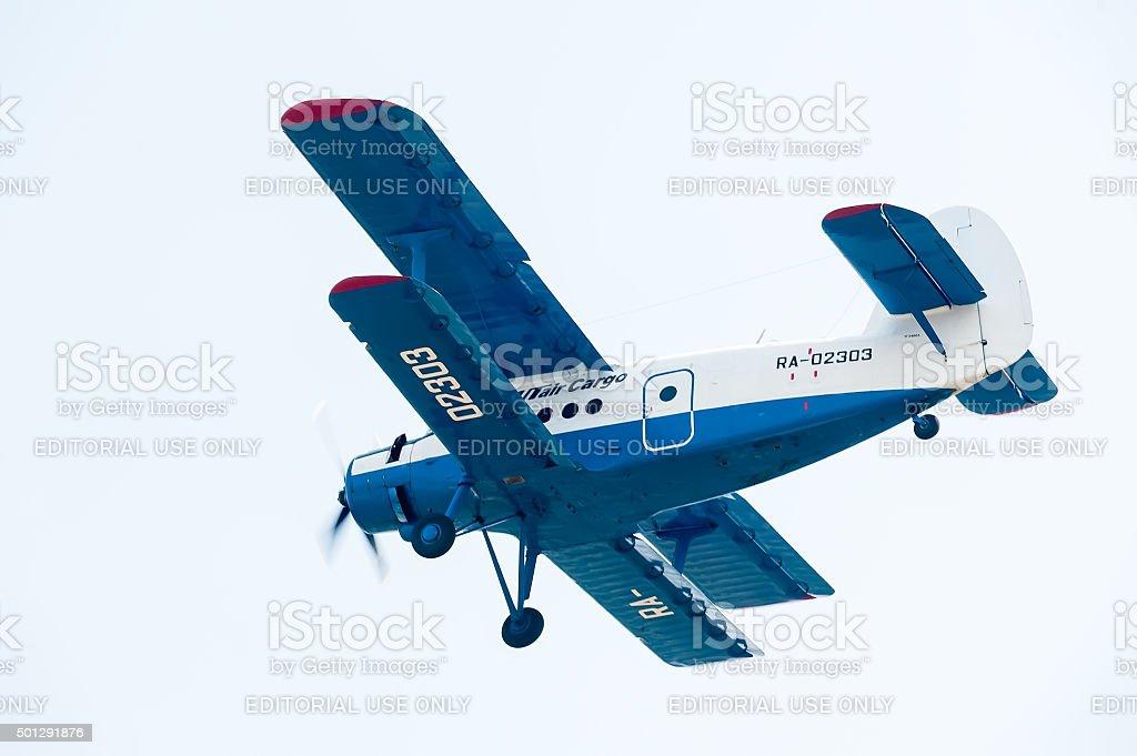 antonov an 2 airplane flyes stock photo
