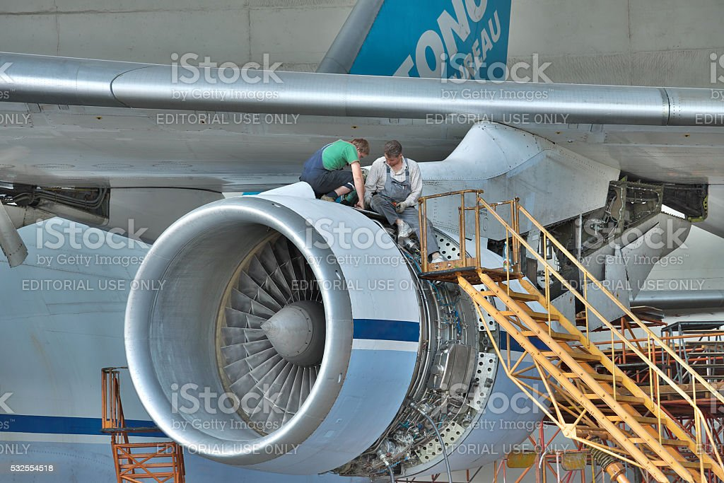 Antonov An-124 Ruslan maintenance stock photo
