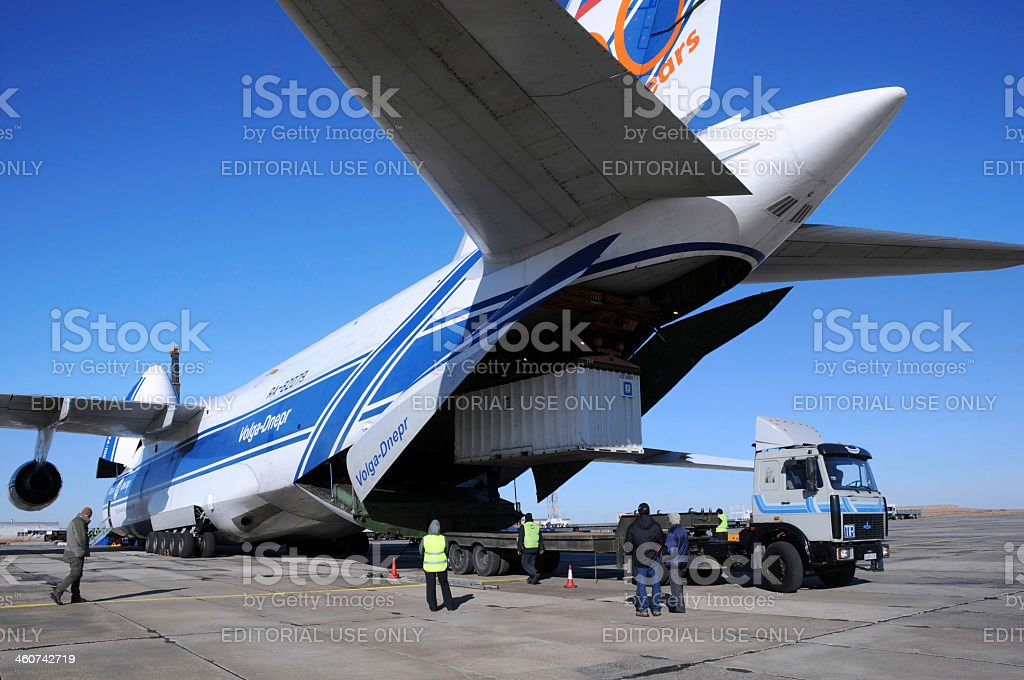 Antonov AN-124 Unloading stock photo
